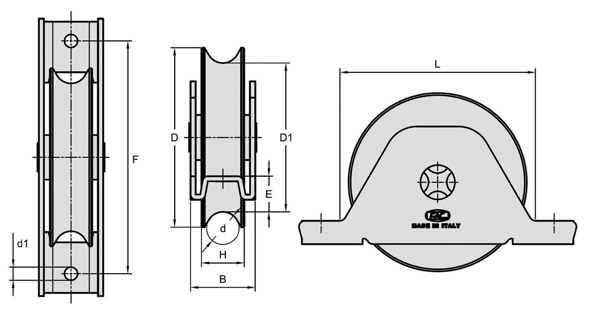 Galet gorge 1//2 Ronde /Ø16Mm Support /à visser /Ø 100-2 Roult