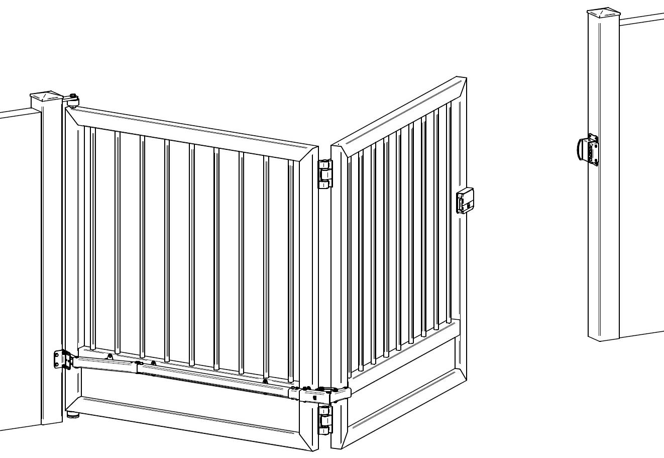 fiche article kpl so kit m canisme pour portail pliant de 5m max. Black Bedroom Furniture Sets. Home Design Ideas