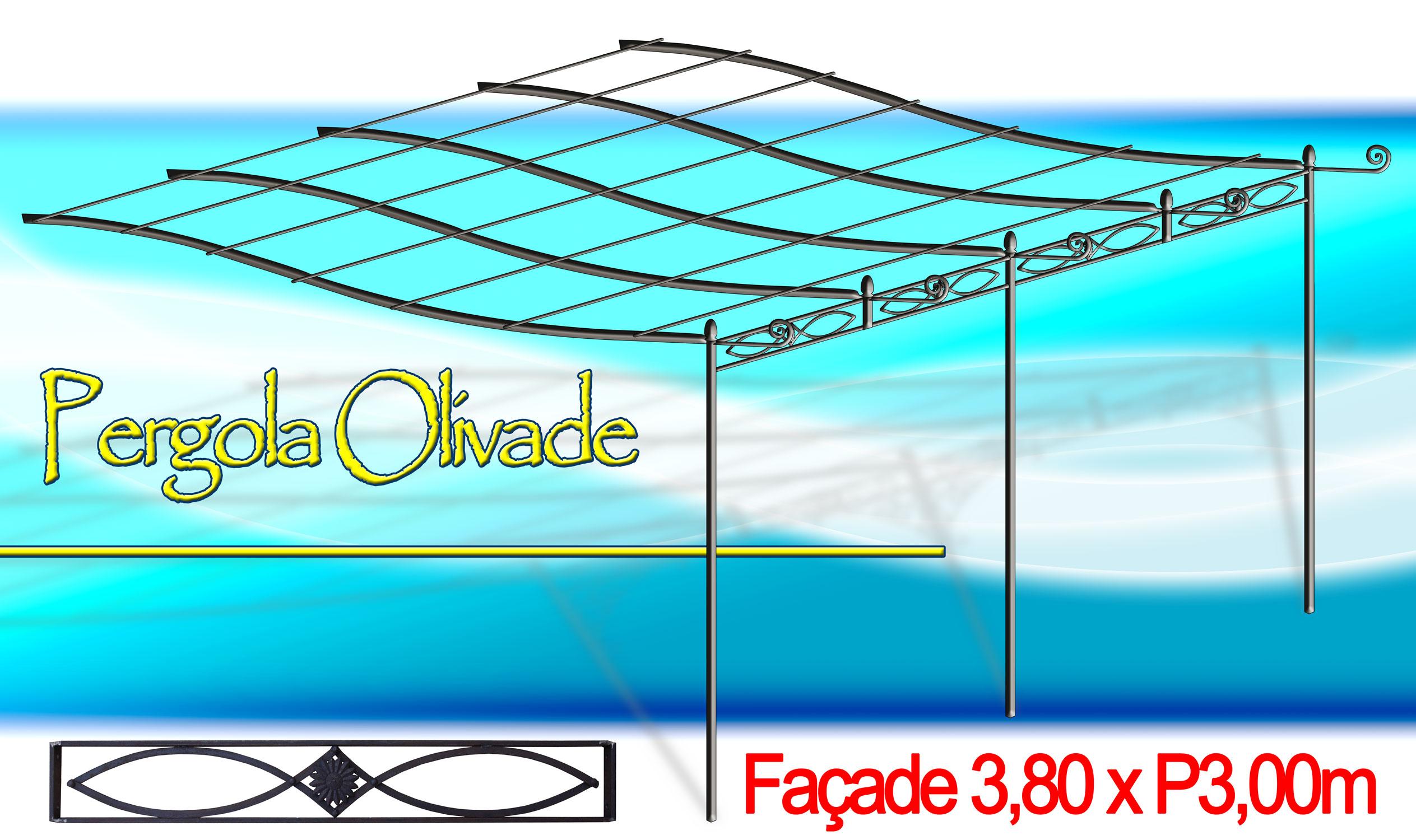 fiche article p3 pergo380m pergola olivade en kit l 3 80m x p 3 00m mod le modern. Black Bedroom Furniture Sets. Home Design Ideas